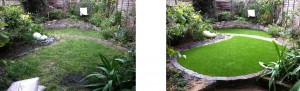Small garden with a lawn. Before and after installation of artificial grass.